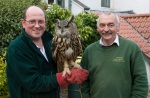 Richard on the left and Terry with Robyn the Eagle Owl