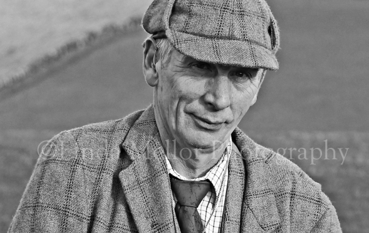 Black and white gamekeeper portrait