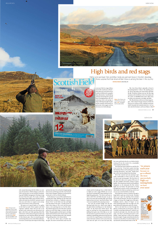 My Glen Clova shooting feature is in January Scottish Field 2013