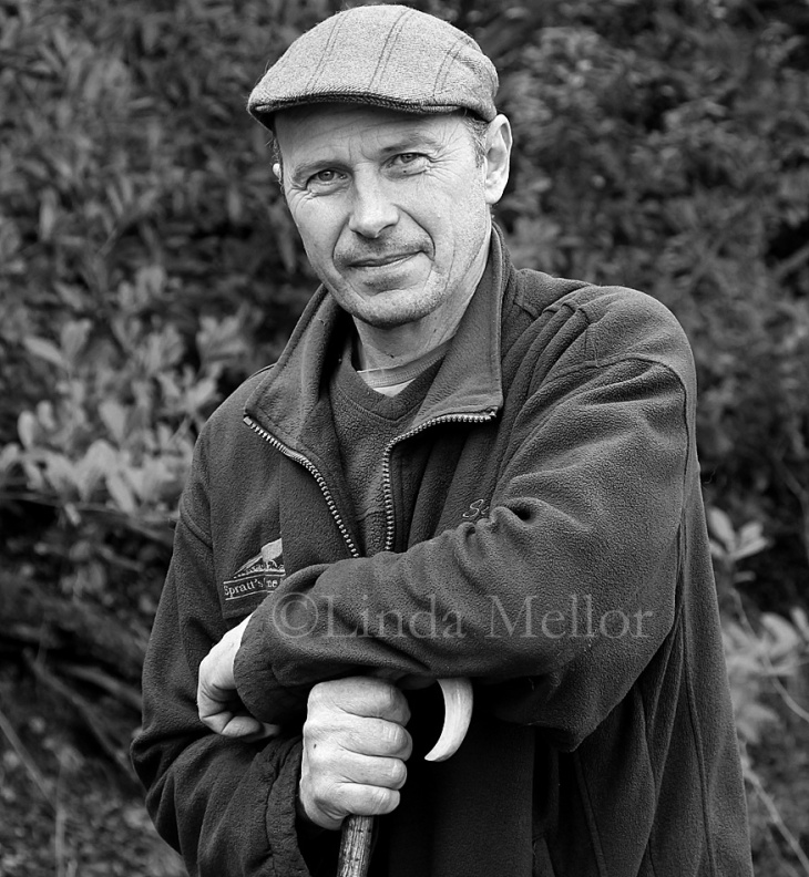 Gamekeeper portrait in black and white