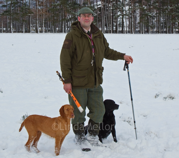 Glen Clova's Gamekeeper Mike Hardy, Snowy shoot day, January 2013