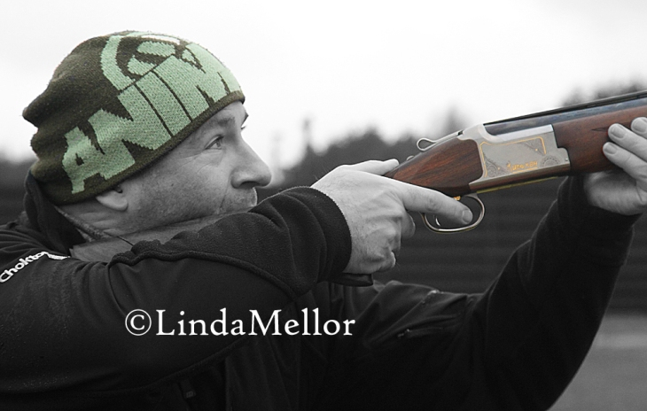 Clay shooting portrait