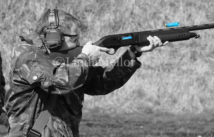 Capturing the action of a semi auto shotgun, Scottish Clay Shooting Centre, Fife