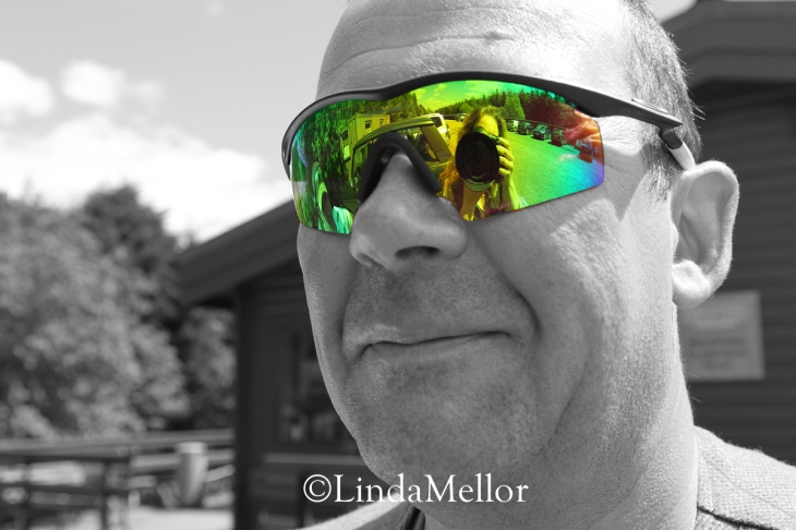 mike hardy wearing mirrored shooting sunglasses