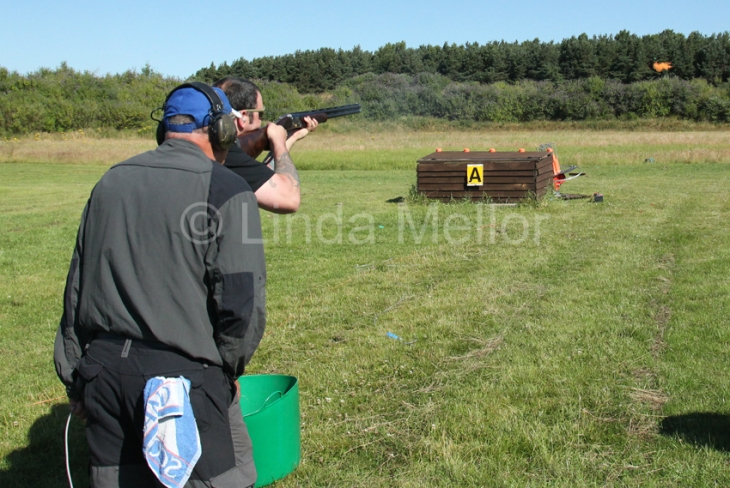 Clay shooting in the sunshine, Fife