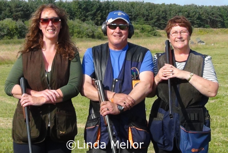 Linda Mellor (left) Ron Maxwell (centre) and Susan Fowlis (right) shooting clays