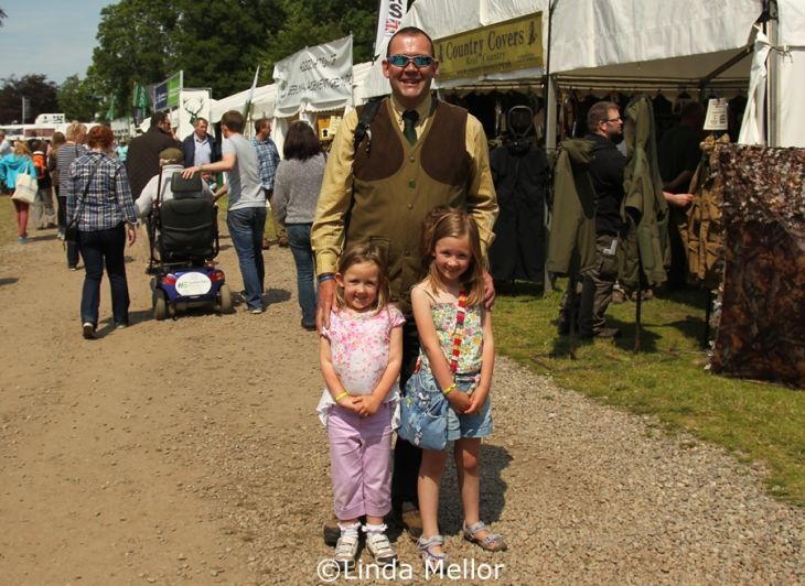 Mike and the girls enjoying the sunshine at the Scottish Game Fair, 2013