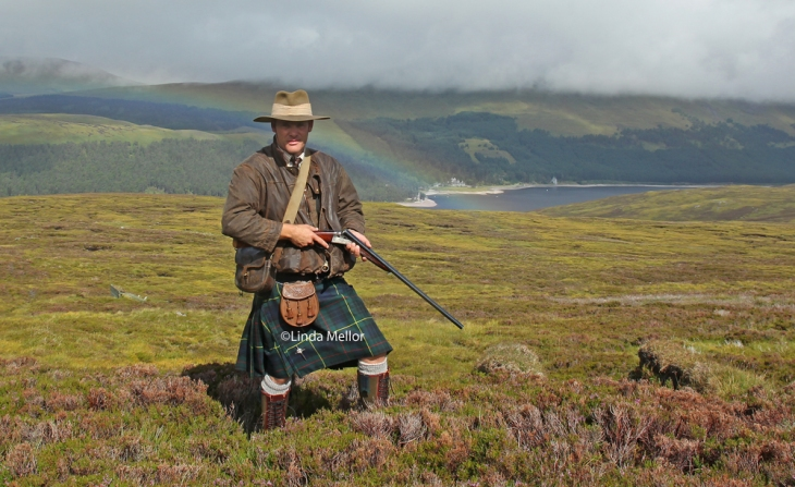 Shooting Grouse over pointers in the Scottish Highlands