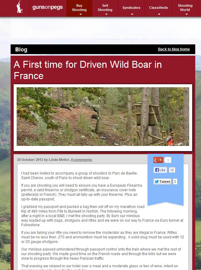driven wild boar trip to France, guns on pegs blog