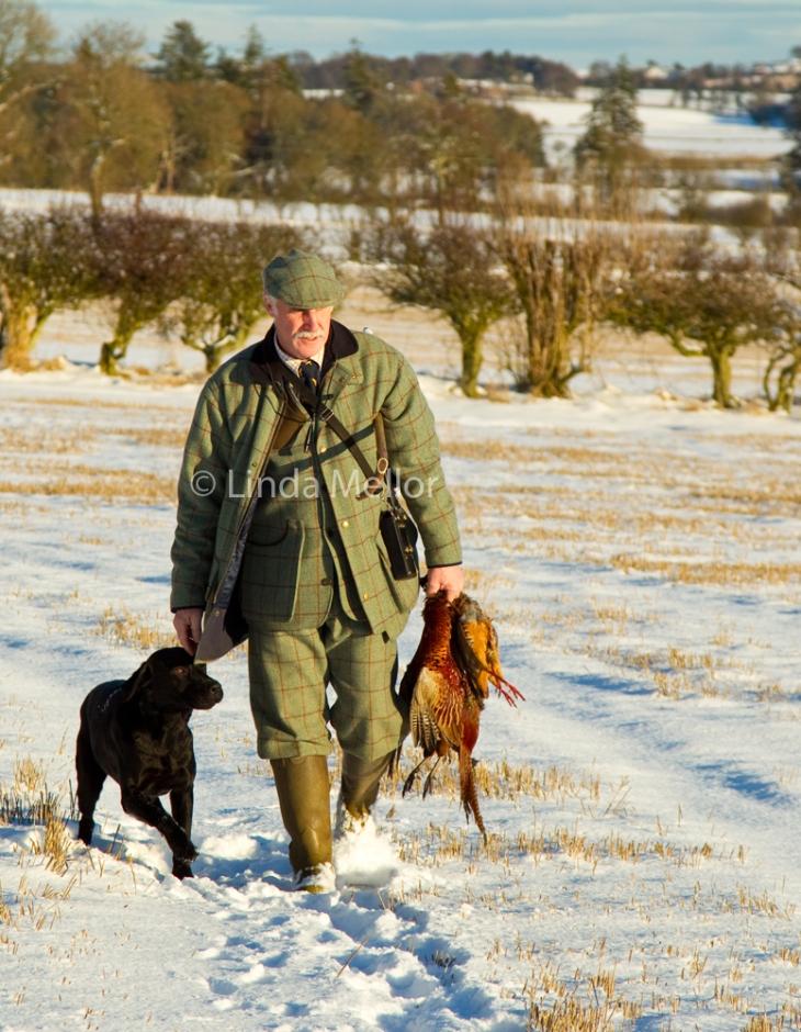 Gamekeeper in tweeds walking through the snow with gundog at heel