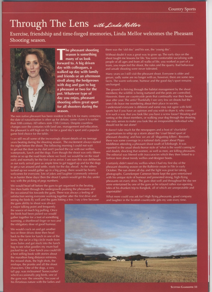 My fieldsports column in the Scottish gamekeepers association magazine