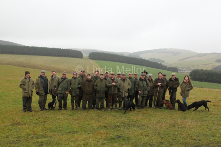 Group photograph on driven pheasant shoot, haltree farm, Heriot, Scotland