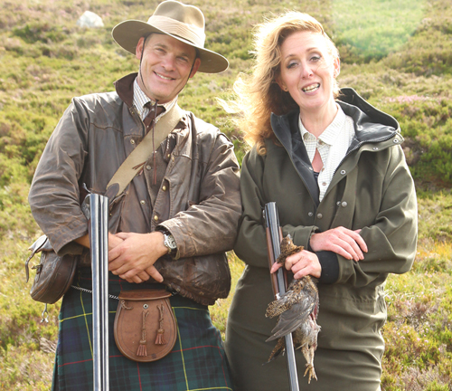 shooting grouse over pointers