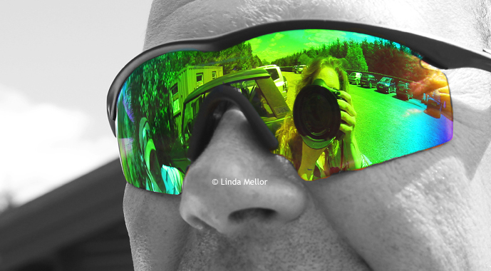 shooting glasses and camera reflection. Diary of a lady trap shooter