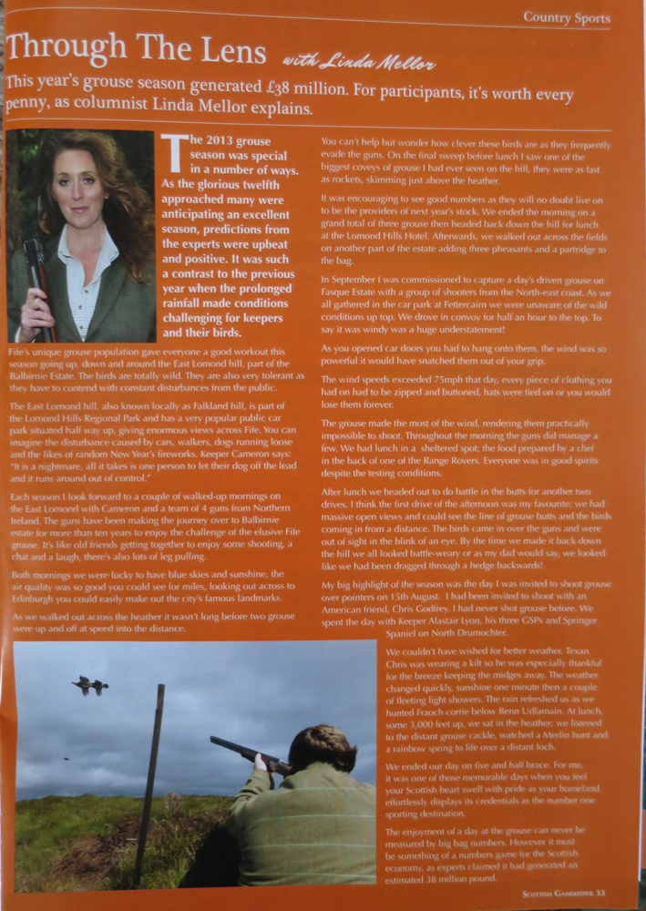 Linda Mellor's regular column in Scottish Gamekeepers Magazine