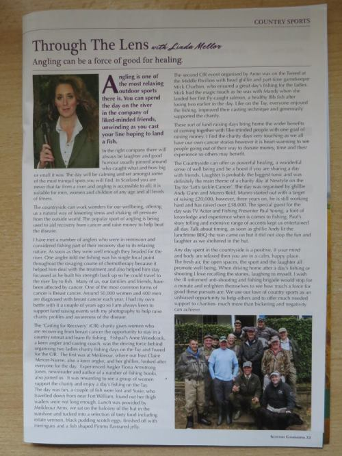 My Scottish Gamekeeper Association Column about tackling cancer with fishing and countryside healing