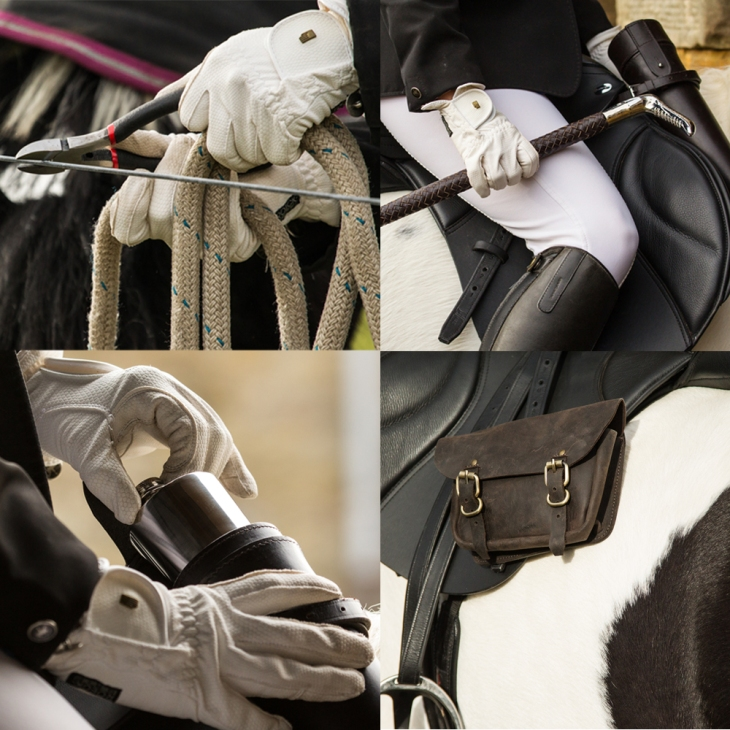 Top row: wire cutters and silver detailed riding whip. Bottom row: saddle flask and saddle bag